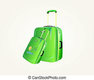 zöld, utazás, bőrönd, vektor