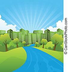 zöld, város, alatt, nyár időmérés