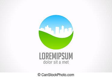 zöld, város, eco, jel, template., ökológia, fogalom, icon.