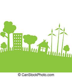 zöld, vektor, city., ábra