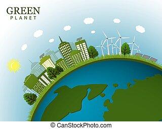 zöld, vektor, city., illustration.