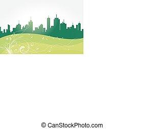 zöld, vektor, city.