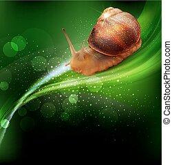 zöld, vektor, levél növényen, csiga, csúszó