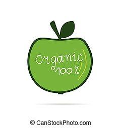 zöld, vektor, szerves, alma