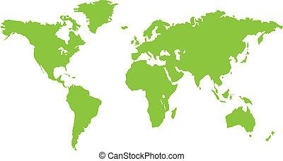 zöld, világ, szárazföld, térkép