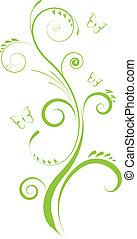 zöld, virágos, díszítés