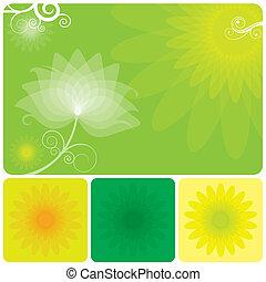 zöld, virágos, háttér