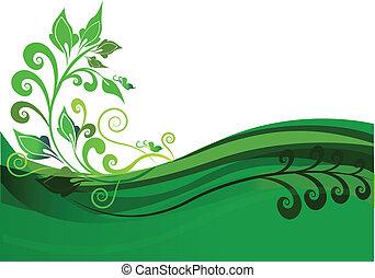 zöld, virágos, háttér, tervezés