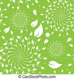 zöld, virágos, seamless, motívum