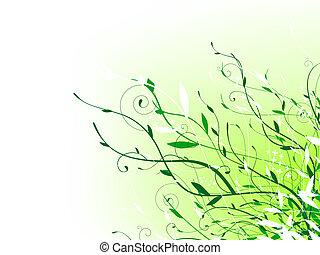 zöld, virágos