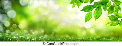 zöld, zöld, bokeh, háttér, természet