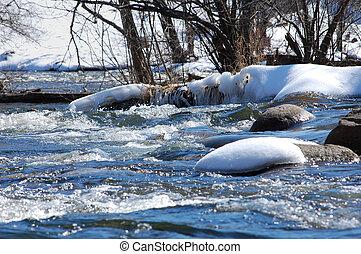 zúgó, alatt, havas, folyó