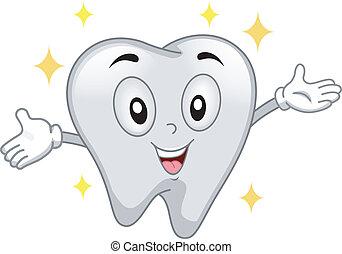 ząb, błyszczący, maskotka