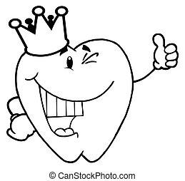 ząb, chodząc, korona, szkic