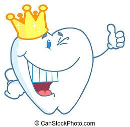 ząb, chodząc, litera, korona