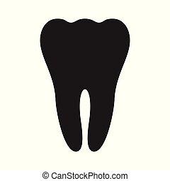ząb, czarnoskóry, ikona