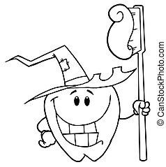 ząb, halloween, uśmiechanie się, konturowany