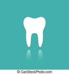 ząb, płaski, ikona, z, odbicie, na, niejaki, zielone tło