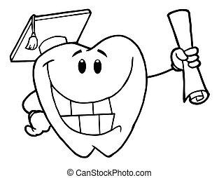ząb, pomyślny, absolwent, szkic