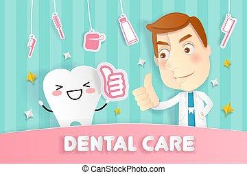 ząb, rysunek, doktor