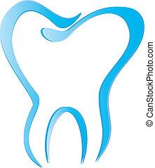 ząb, stylizowany, z, cienie, wektor