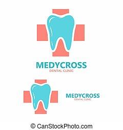 ząb, template., logo, ikona, wektor, dentysta, projektować, medyczny