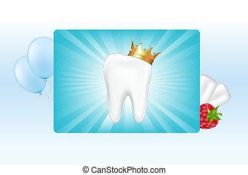 ząb, w, korona, i, guma do żucia