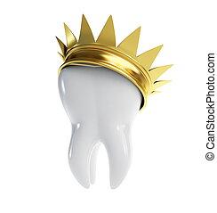 ząb, złota korona