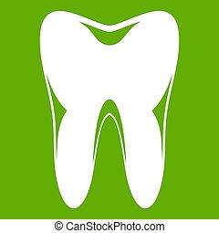 ząb, zielony, ludzki, ikona