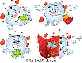 zęby, list miłosny, romantyk, dzień