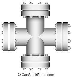 złączony, crossings., element., pipe.