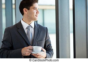 złamanie, biznesmen, kawa, młody, posiadanie