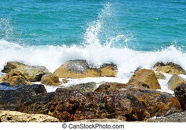 złamanie, kamienie, o, morze, fale
