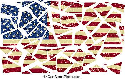 złamany, amerykanka, wektor, ilustracja, flag.