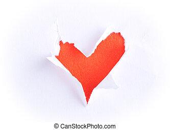 złamany, formułować, papier serce
