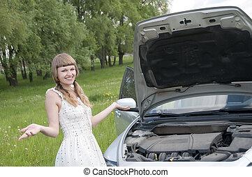 złamany, kobieta, zmartwiony, wóz