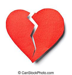 złamany, miłość, związek, serce