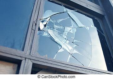 złamany, okno