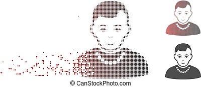 złamany, pixel, halftone, modny, facet, ikona