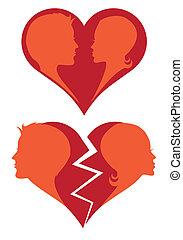 złamany, wektor, romansowe serce