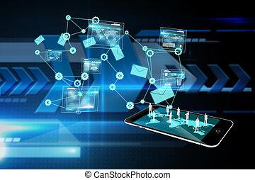 złożony wizerunek, od, dane, analiza, interfejs, tło