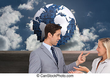 złożony wizerunek, od, handlowy zaludniają, spotykać, nawzajem