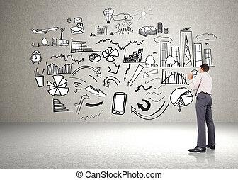 złożony wizerunek, od, myślenie, biznesmen, dzierżawa pióro