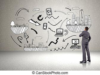 złożony wizerunek, od, myślenie, biznesmen, z, ręka na podbródku