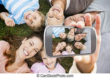 złożony, wręczać dzierżawę, pokaz, wizerunek, smartphone