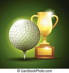 złota filiżanka, z, niejaki, golf, ball., wektor, ilustracja
