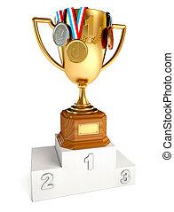 złota filiżanka, zwycięzca, złoty, brąz, srebro, medals