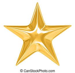 złota gwiazda, na białym, tło