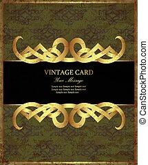 złota karta, adamaszek, zielony, rocznik wina