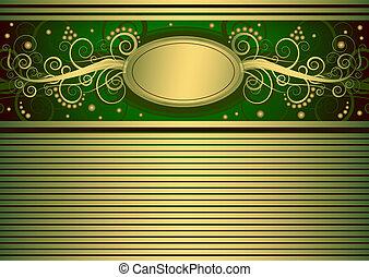 złota karta, (vector), zielony, rocznik wina